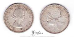 "(2) 1953 SILVER CANADIAN QUARTER 25 Cents Caribou Elizabeth II ""Dei Gratia Regina"" http://etsy.me/17T6ok9 @Etsy"
