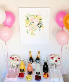 What's better than a mimosa with girlfriends? A make-your-own mimosa bar, of course!! Gather all of your favorite juices and all of your closest friends - just add champagne and garnish with fruit! #mimosabar
