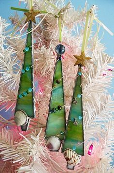 christmas trees decorated with sea shells | Stained Glass Christmas Tree Ornament Seashell Set of Three Teal by ...