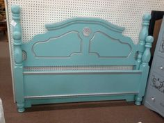 $210 - Full or Queen size headboard and footboard - painted a Tiffany Blue with silver and rhinestones. ***** In Booth C17 at Main Street Antique Mall 7260 E Main St (east of Power RD on MAIN STREET) Mesa Az 85207 **** Open 7 days a week 10:00AM-5:30PM **** Call for more information 480 924 1122 **** We Accept cash, debit, VISA, Mastercard, Discover or American Express