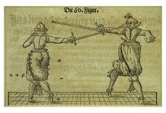 A set of four 17th-century German woodcuts of fencing lessons