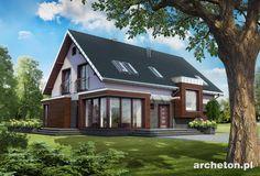 Projekt domu Helios to modernistyczny dom, z dużym tarasem wokół domu