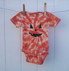 Tie Dye Jack-o-Lantern Pumpkin.  Babies First Halloween. by MamaCassHippieGoods, $12.00