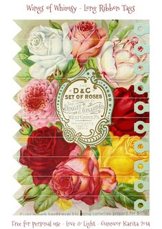 Wings of Whimsy: Vintage Long Ribbon Rose Tags
