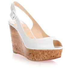 d2fa97161ad1 Christian Louboutin Une Plume white wedge sandal ( 675) ❤ liked on Polyvore  featuring shoes