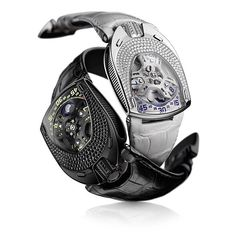 This is for the ladies!!! Urwerk UR-106 Lotus. Limited to 22 pieces, 11 of each. Lotus in titanium set with diamonds or alternatively Black Lotus in the PVD-black steel and titanium set with black diamonds.
