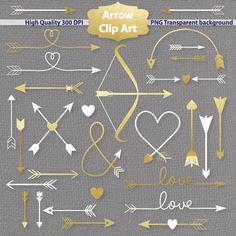 Arrow clipart, gold and white arrow clip art, tribal, romantic, save the date, wedding arrow clipart, bow and arrow, love