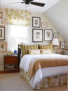 Natural Color Scheme - Beige walls, white bedspread, beige blanket & striped shams w/small patterned throw pillows!  Make pillows shades of blue.
