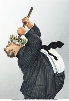 """Haderer-Karikatur vom 18. Oktober 2014: """"Jüngste Umfrage: Warum sind die Chefs großer Österreichischer Unternehmen so unbeliebt?"""" Mehr Karikaturen auf: http://www.nachrichten.at/nachrichten/fotogalerien/cme14862,1160981 (Bild: Haderer)"""