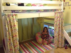 Ana White | Camp Loft Bed with Added Book Shelf and Curtain. - DIY Projects