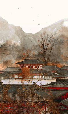 The Art Of Animation, Ibuki Satsuki -. Chinese Landscape, Landscape Art, Landscape Paintings, Chinese Drawings, Graphisches Design, Art Asiatique, Whatsapp Wallpaper, China Art, Anime Scenery