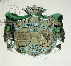 Champagne label for Jacquesson & Fils, Champagne Sillery Marque, mid century (colour litho) Vintage Wine, Vintage Labels, Champagne Label, French School, Vip, 19th Century, Printables, Crown, Colour