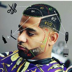 Another masterpiece from 👇👇👇👇👇👇👇👇👇👇👇 ・・・ Good morning 🙏🙏🏻! Here's a diagram haircut using… Beard Styles For Men, Hair And Beard Styles, Curly Hair Styles, Barber Haircuts, Haircuts For Men, Black Men Hairstyles, Hairstyles Haircuts, Corte Fade, Barber Tips