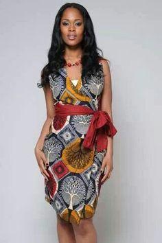 African print wrap dress                                                       …