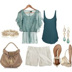 teal, created by lisamichele-cdxci on Polyvore featuring the Stella & Dot - Pippa Stone Earrings