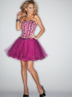 A-line Fuchsia Organza Short Prom Dress Homecoming Dress/ Cocktail Dress Sticks & Stones Mee 9195