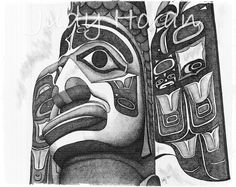 Totem  in Ink is an ink rendering of the Native American Totem in Ketchikan, Alaska