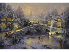 Thomas Kinkade Spirit of Christmas Painting Limited Edition Canvas