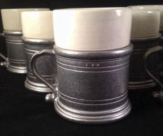 Set of 12 Wilton Armetale (Pewter) RWP Plough Tavern Coffee Cups Mugs & Inserts