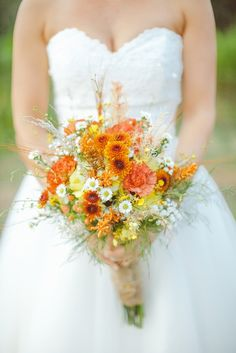 Orange, yellow, and white wildflower bouquet // Port Charlotte Florist // J Photography