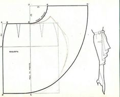 from Patterns & Pattern Making board Waterfall ruffle skirt pattern. And many other patterns, especially necklines. Sewing Hacks, Sewing Tutorials, Sewing Crafts, Dress Tutorials, Techniques Couture, Sewing Techniques, Pattern Cutting, Pattern Making, Dress Sewing Patterns