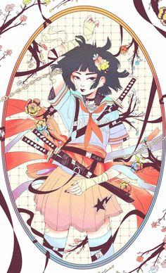 Badass Drawings, Art Drawings, Anime Art Girl, Manga Art, Character Art, Character Design, Black Artwork, Anime Style, Artist Art