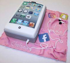 Mobile phone birthday cake Nutella Birthday Cake, 13 Birthday Cake, 12th Birthday, Sweets Cake, Cupcake Cakes, Iphone Cake, Birtday Cake, Cake Models, Cake Tutorial