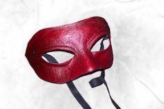 Columbina neutral mask red leather costume by MaschereFabula