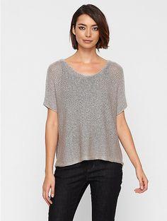 Scoop Neck Elbow-Sleeve Top in Linen Shimmer Chainette