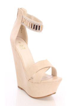Beige Open Toe Rhinestone Ankle Strap Wedges Faux Leather
