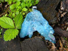 Aqua Aura Faerie Crystal Quartz Cluster by JasmineDragonStudio, $30.00