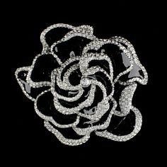 Rare Joan Rivers Silver Tone  Dazzling Black Enamel Rose Pin Limited 348U #JoanRivers #RosePin
