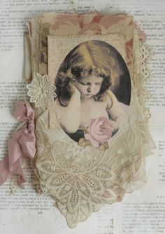Mixed Media Fabric Collage Book of Cherubs and Roses | eBay