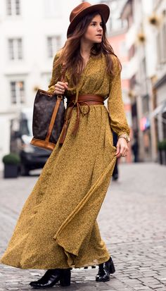 Bohemian Winter by The Fashion Fraction YELLOW MUSTARD DRESS BELL SLEEVE