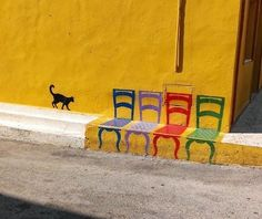 come sit in these colorful chairs!