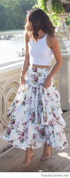 Long floral skirt, white tank and nude sandals