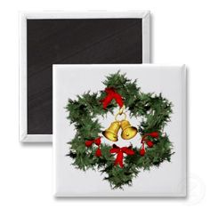 Christmas Wreath and Golden Bells Refrigerator Magnet by Graphic Allusions. $3.70 per magnet. #christmas #decorations #magnets #wreath