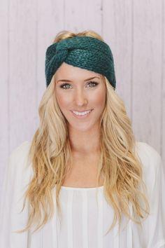 Teal Knitted Turban Headband by ThreeBirdNest