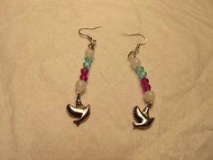 beaded dove earrings