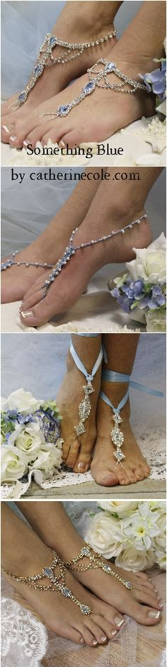 Bohemian Chic-Wedding barefoot sandals - blue - wedding foot jewelry by Catherine Cole Studio LOVE IT PIN IT! Blue Wedding, Wedding Shoes, Wedding Jewelry, Blue Bridal, Wedding Veils, Bridal Shoes, Chic Wedding, Wedding Hair, Bridal Hair