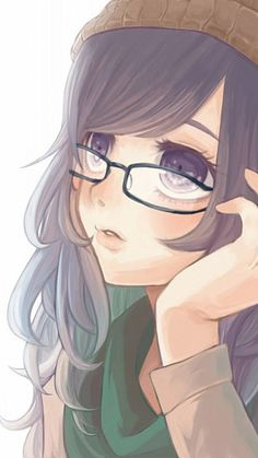 ✮ ANIME ART ✮ anime. . .pretty girl. . .glasses. . .hat. . .scarf. . .thoughtful. . .cute. . .kawaii