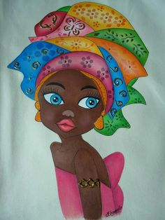 Africano by johanna Black Girl Art, Black Women Art, Black Art, African Art Paintings, Africa Art, African American Art, Female Art, Painted Rocks, Folk Art