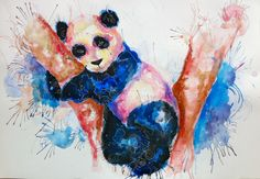 panda water color + gel pencil