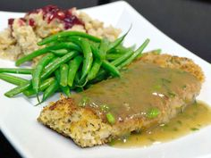 Dinner Plate Breaded Baked Turkey Breast with Cornmeal Stuffing Cranberries and Green Beans & Family Dinner Menu - Los Angeles and More | Turkey meatloaf Dinners ...