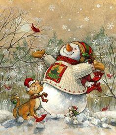 Snowman and cat Bonhomme de neige et chat Christmas Scenes, Christmas Images, Christmas Snowman, Winter Christmas, All Things Christmas, Christmas Stockings, Christmas Holidays, Christmas Crafts, Christmas Decorations