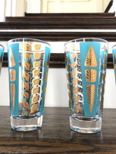 SALE Set of 4 Fred Press Signed Mid Century Turquoise Gold Highball Glasses Vintage Tableware, Vintage Glassware, Cocktail Glassware, Modern Dinnerware, Mid Century Bar, Highball Glass, Gold Paint, Drinkware, Barware