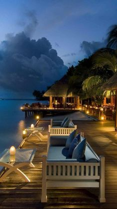 Beachside restaurent at Conrad Rangali Island, Maldives