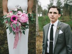 Pink and Gold Austin Wedding - bouquet ribbon