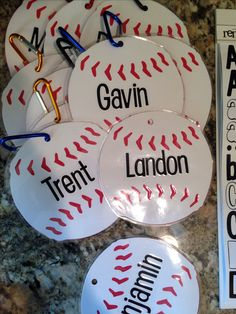 Name tags for the dugout. For the softball team Dugout Mom, Baseball Dugout, Baseball Banner, Softball Mom, Sports Baseball, Baseball Equipment, Baseball Treats, Baseball Gifts, Baseball Party