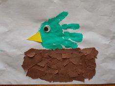 Cute spring handprint art. Ripped paper adds interesting texture to the picture. Chipman's Corner Preschool: Handprint Bird in Nest